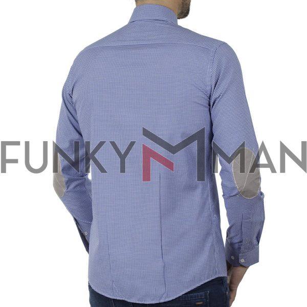 Καρό Πουκάμισο Slim Fit CND Shirts 5500-4 Μπλε