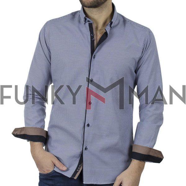 Καρό Πουκάμισο Slim Fit CND Shirts 5500-5 σκούρο Μπλε