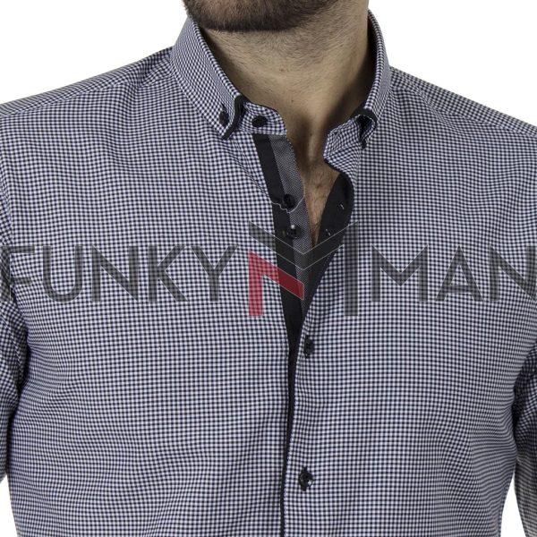 Καρό Πουκάμισο Slim Fit CND Shirts 5500-6 Μαύρο