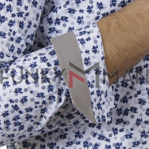 Μάο Φλοράλ Πουκάμισο Slim Fit CND Shirts 6550-1 Μπλε