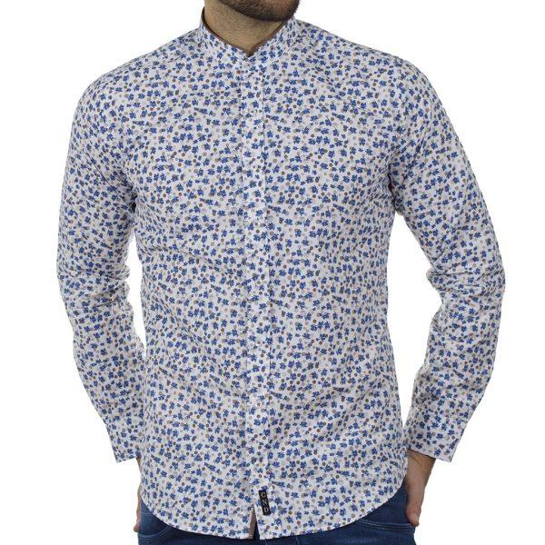 Φλοράλ Πουκάμισο Slim Fit CND Shirts 6550-2 Μπλε