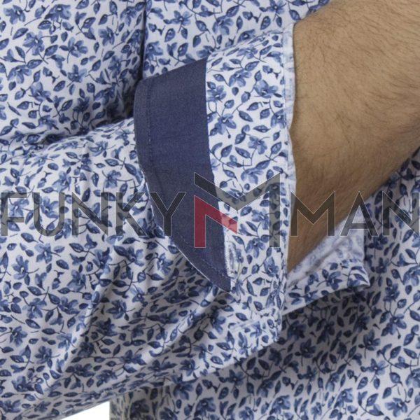 Φλοράλ Πουκάμισο Slim Fit CND Shirts 6800-3 Μπλε