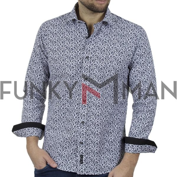 Φλοράλ Πουκάμισο Slim Fit CND Shirts 6800-4 Μαύρο