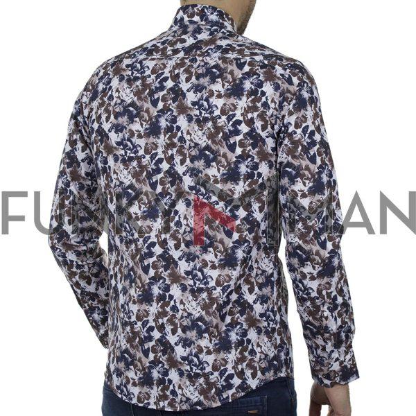 Φλοράλ Πουκάμισο Slim Fit CND Shirts 6800-6 σκούρο Μπλε