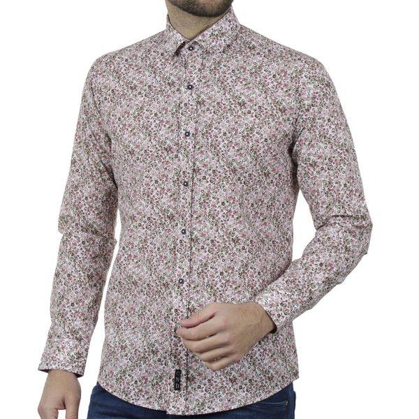 Φλοράλ Πουκάμισο Slim Fit CND Shirts 6800-7 Ροζ