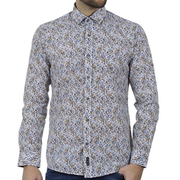 Φλοράλ Πουκάμισο Slim Fit CND Shirts 6800-8 Μπλε