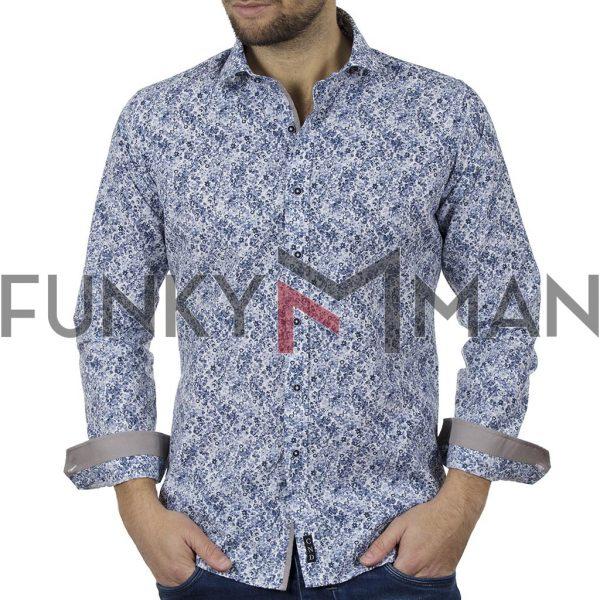 Φλοράλ Πουκάμισο Slim Fit CND Shirts 6800-9 Μπλε