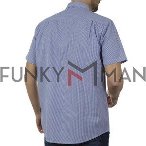 Καρό Κοντομάνικο Πουκάμισο Regular Fit Check Print DOUBLE GS-497S SS20 Μπλε