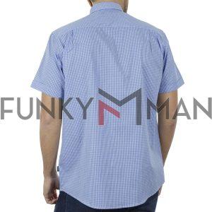 Καρό Κοντομάνικο Πουκάμισο Regular Fit Check Print DOUBLE GS-497S SS20 Sky Blue
