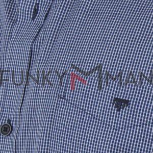 Καρό Κοντομάνικο Πουκάμισο Regular Fit Check Print DOUBLE GS-497S SS20 σκούρο Μπλε
