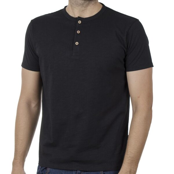 100% Flama Henley T-Shirt DOUBLE TS-116 SS20 Μαύρο