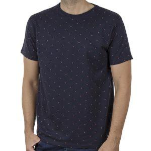 Πουά Κοντομάνικη Μπλούζα T-Shirt DOUBLE TS-117 SS20 Μπλε