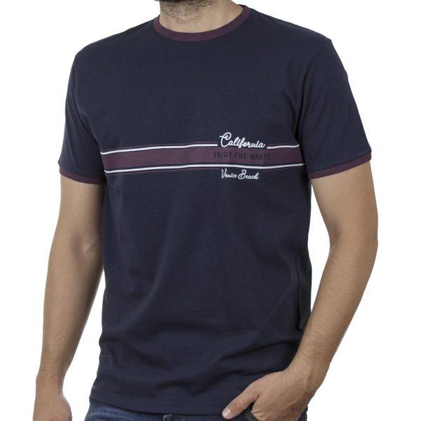 Κοντομάνικη Μπλούζα T-Shirt DOUBLE TS-118 SS20 Μπλε