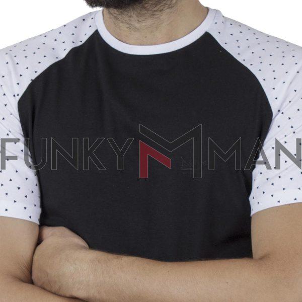Κοντομάνικο Ρεγκλάν T-Shirt DOUBLE TS-119 SS20 CC1 Μαύρο