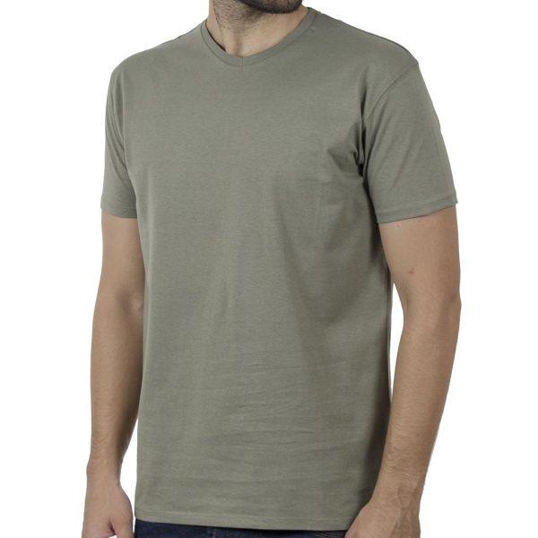 """Κοντομάνικη Μπλούζα """"V-Neck"""" DOUBLE TS-124 SS20 Olive"""