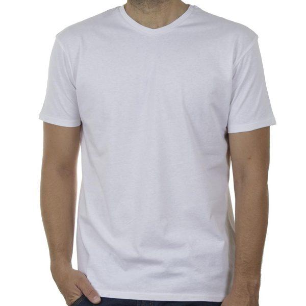 """Κοντομάνικη Μπλούζα """"V-Neck"""" DOUBLE TS-124 SS20 Λευκό"""