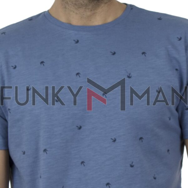 100% Flama All Over Print T-Shirt DOUBLE TS-126 SS20 ανοιχτό Μπλε