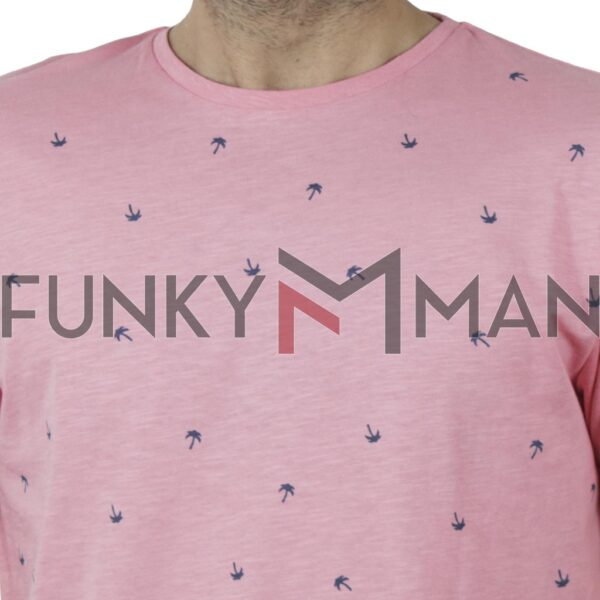 100% Flama All Over Print T-Shirt DOUBLE TS-126 SS20 Ροζ