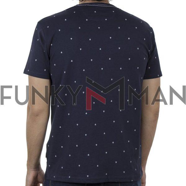 Κοντομάνικο All Over Print T-Shirt DOUBLE TS-129 SS20 Navy