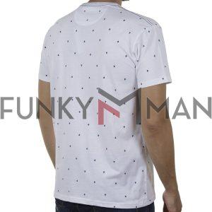 Κοντομάνικο All Over Print T-Shirt DOUBLE TS-129 SS20 Λευκό