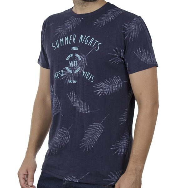 100% Flama All Over Print T-Shirt DOUBLE TS-130 SS20 Navy