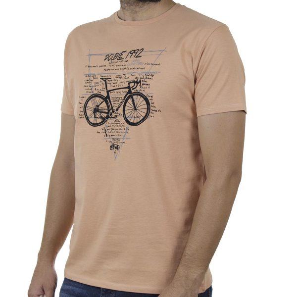 Κοντομάνικο T-Shirt DOUBLE TS-131 SS20 Ροδακινί