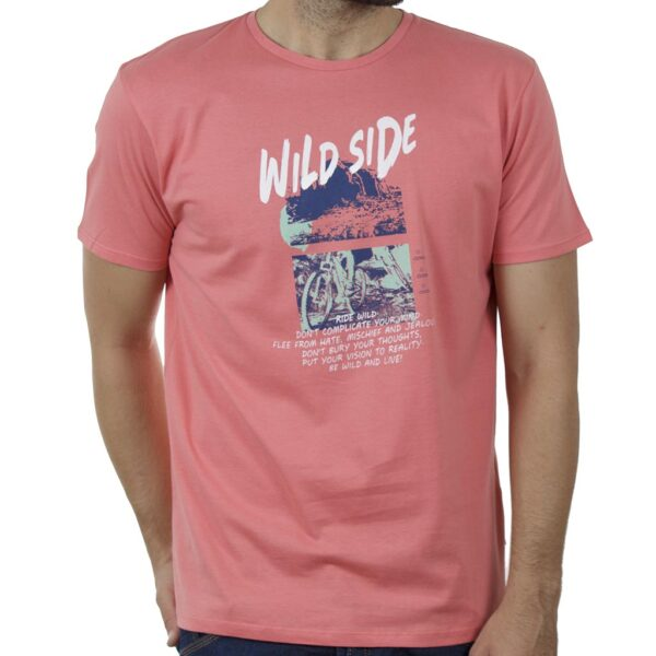 Κοντομάνικο T-Shirt DOUBLE TS-132 SS20 Κοραλλί