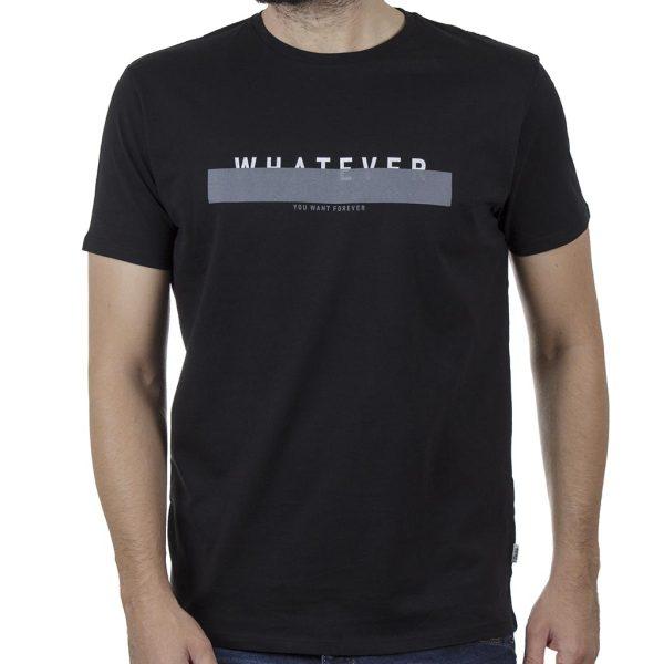 Κοντομάνικη Μπλούζα T-Shirt DOUBLE TS-132B SS20 Μαύρο