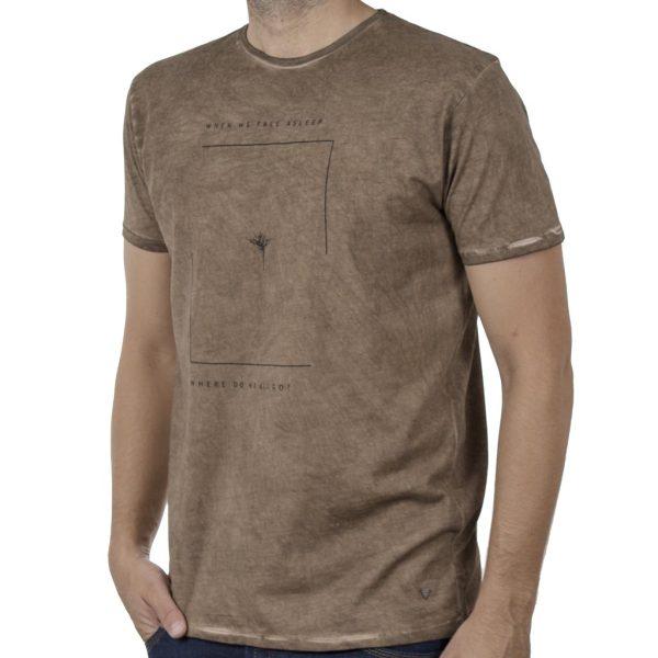 """""""Πλυμένο"""" T-Shirt DOUBLE TS-135 SS20 Camel"""