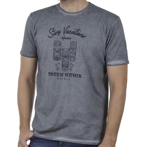 """""""Πλυμένο"""" T-Shirt DOUBLE TS-135 SS20 Γκρι"""