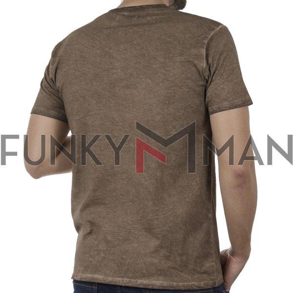 """Henley """"Πλυμένο"""" T-Shirt DOUBLE TS-136 SS20 Camel"""