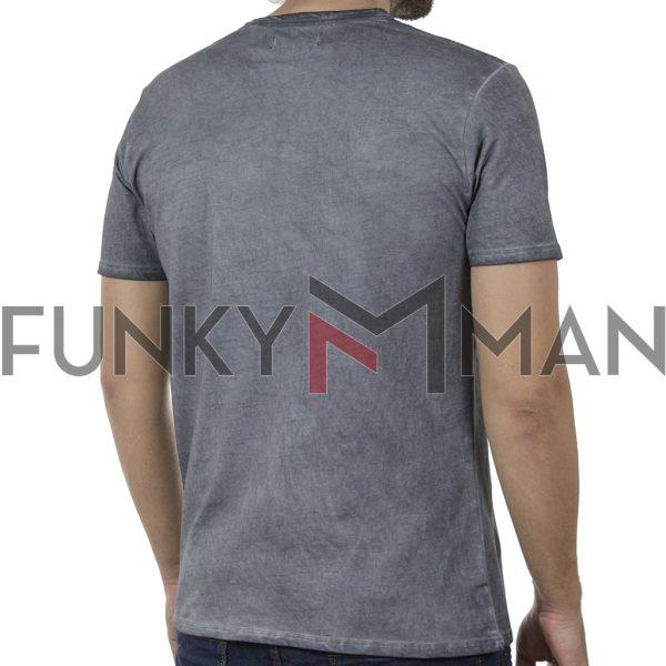 "Henley ""Πλυμένο"" T-Shirt DOUBLE TS-136 SS20 Γκρι"