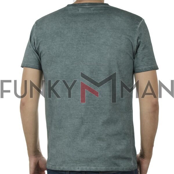"Henley ""Πλυμένο"" T-Shirt DOUBLE TS-136 SS20 Pesto"