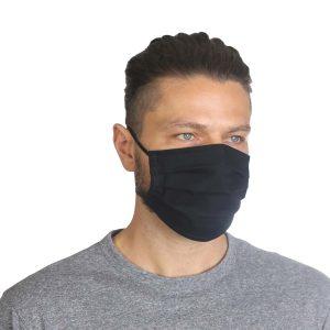 Υφασμάτινη Μάσκα Προσώπου με Περιμετρικά Λάστιχα Σετ 5 Τεμ. Μαύρο