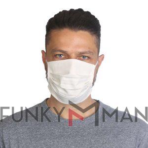 Υφασμάτινη Μάσκα Προσώπου με Περιμετρικά Λάστιχα Σετ 5 Τεμ. Εκρού