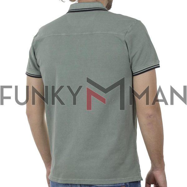 Κοντομάνικο Polo FUNKY BUDDHA FBM00102311 SS20 Χακί