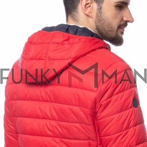 Ελαφρύ Φουσκωτό Μπουφάν με Κουκούλα Puffer Jacket HEAVY TOOLS NEUTRAL20 SS20 Κόκκινο
