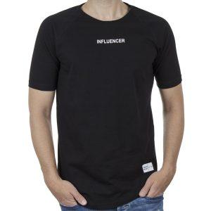 Κοντομάνικη Μπλούζα T-Shirt PONTEROSSO 20-1040 INFLU SS20 Μαύρο