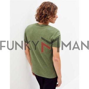 Κοντομάνικη Μπλούζα Henley T-Shirt Celio RENEBET SS20 Χακί