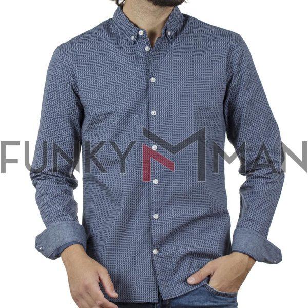 Βαμβακερό Μακρυμάνικο Πουκάμισο Fabric Design Slim Fit BLEND 20709675 SS20 Indigo