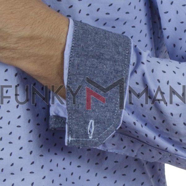Βαμβακερό Μακρυμάνικο Πουκάμισο Feather Print Slim Fit BLEND 20709675 SS20 Sky Blue