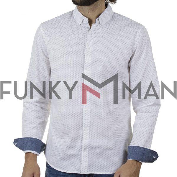 Πουά Μακρυμάνικο Πουκάμισο Slim Fit BLEND 20709675 SS20 Λευκό