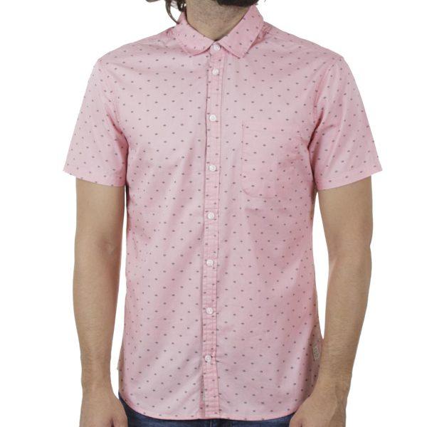 Βαμβακερό Κοντομάνικο Πουκάμισο Fabric Design Slim Fit BLEND 20709676 SS20 Ανοιχτό Ροζ