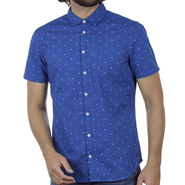 Βαμβακερό Κοντομάνικο Πουκάμισο Fabric Design Slim Fit BLEND 20709676 SS20 Ρουά Μπλέ