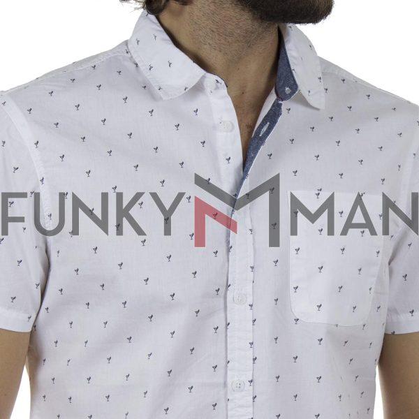Βαμβακερό Κοντομάνικο Πουκάμισο Cocktail Print Slim Fit BLEND 20709676 SS20 Λευκό