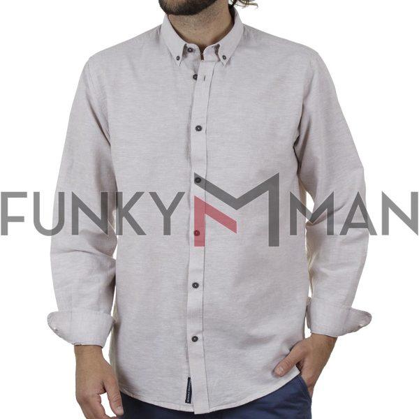 Λινό Μακρυμάνικο Πουκάμισο Slim Line Shirt DOUBLE GS-501 SS20 Μπεζ