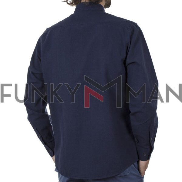 Λινό Μακρυμάνικο Πουκάμισο Slim Line Shirt DOUBLE GS-501 SS20 Navy