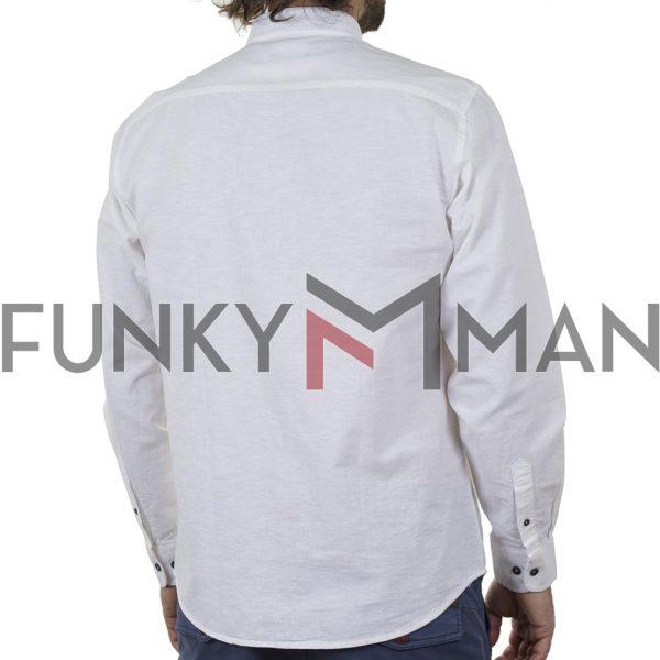 Λινό Μακρυμάνικο Πουκάμισο Slim Line Shirt DOUBLE GS-501 SS20 Λευκό