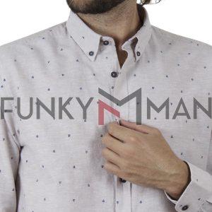 Λινό Μακρυμάνικο Πουκάμισο Slim Line Shirt DOUBLE GS-502 SS20 Μπεζ