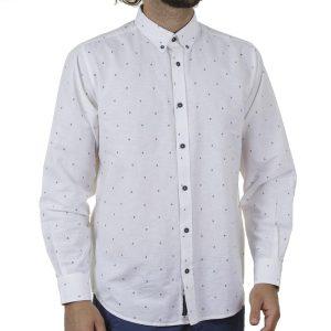 Λινό Μακρυμάνικο Πουκάμισο Slim Line Shirt DOUBLE GS-502 SS20 Λευκό